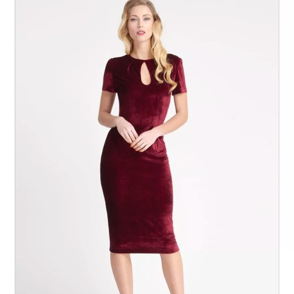 30b60d8b1b Urban Outfitters Burgundy Velvet Keyhole Dress